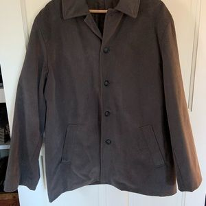 Mens JCrew Coat; fully lined: 100% brushed cotton